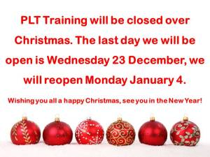 PLT Training Christmas Opening Times