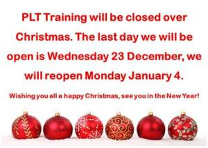 PLT Training Christmas Opening Hours